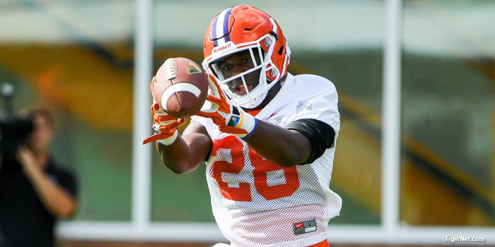 Feaster makes a fingertip catch at Wednesday's practice.