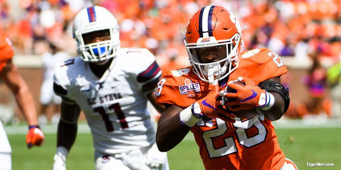 Feaster scores his first career touchdown Saturday