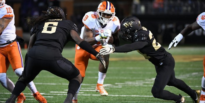 Gallman breaks free for yards in the first quarter Saturday