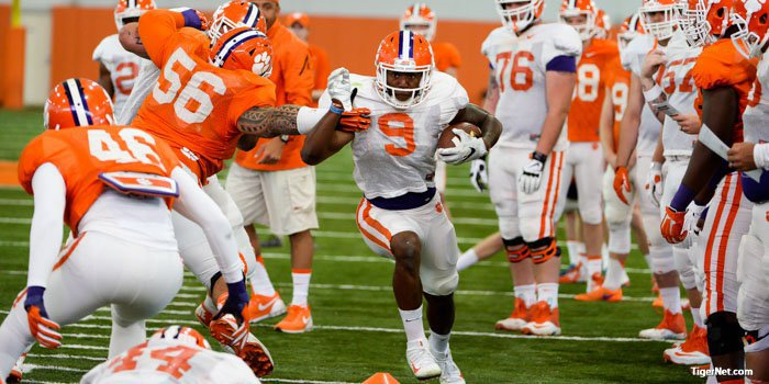 Wayne Gallman drives for yards in the PAW drill