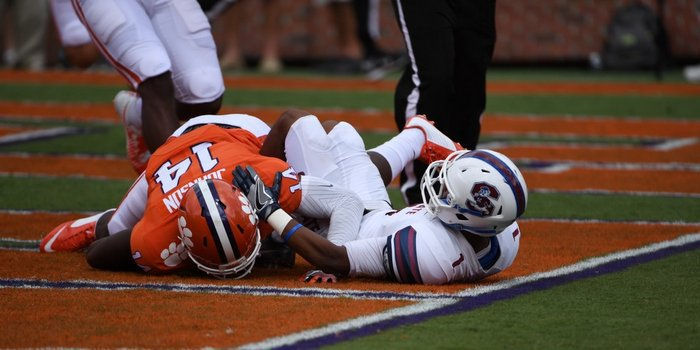 Denzel Johnson recovers the ball in the endzone for a touchdown