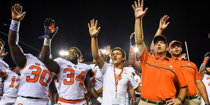 Joseph (34) celebrates after Clemson's win over Auburn