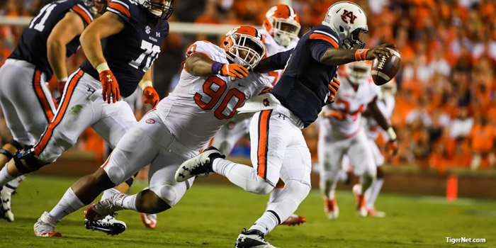 In first Clemson, Lawrence had 10 tackles, a sack and a pass breakup against Auburn.
