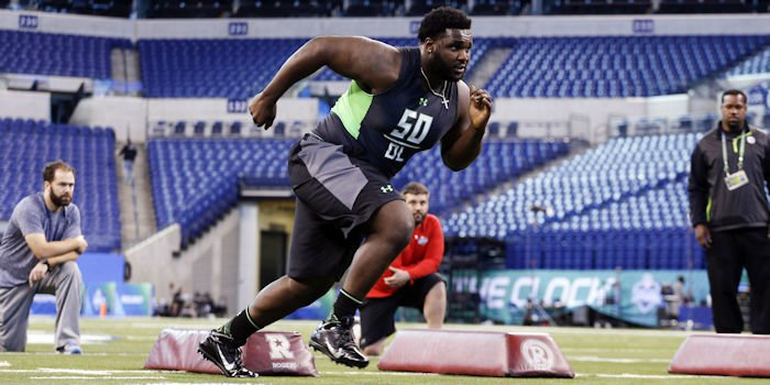 D.J. Reader runs a drill at the NFL combine. <span style=