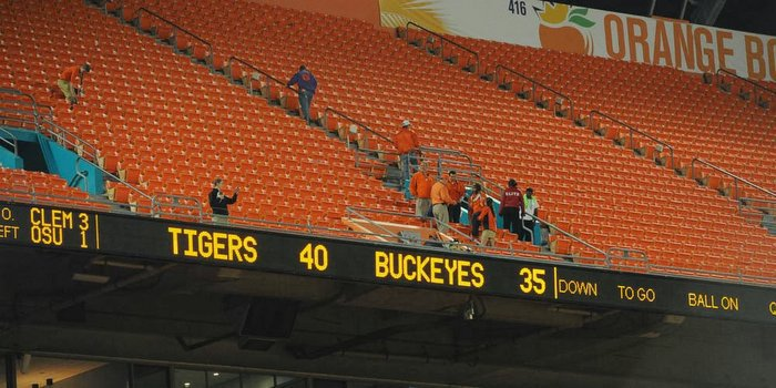 Clemson defeated Ohio St. 40-35 in the Orange Bowl