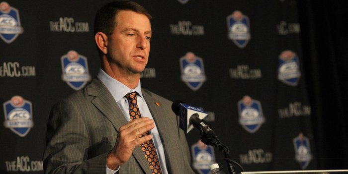 Swinney speaks with the media Friday at Camping World Stadium