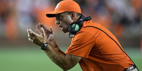 Swinney says he is pleased to escape Auburn with the win (Photo by John David Mercer, USAT)