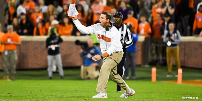 Swinney was upset with the officials more than once Saturday