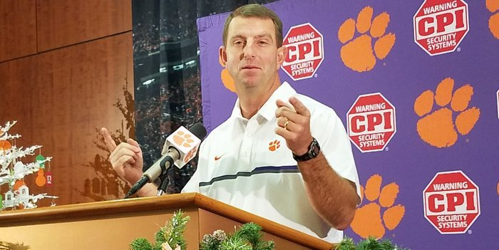 Swinney says he's happy to have another week of game prep
