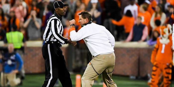 Swinney screams at an official during the loss to Pitt