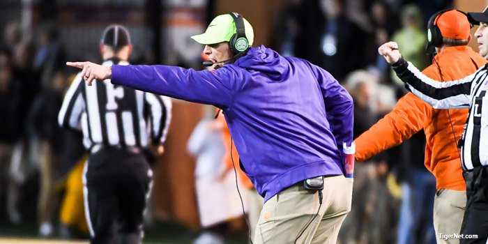 Venables tries to get an official's attention Saturday night