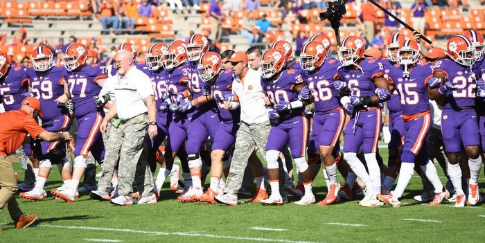 Head coach Dabo Swinney leads the team in Victory Walk