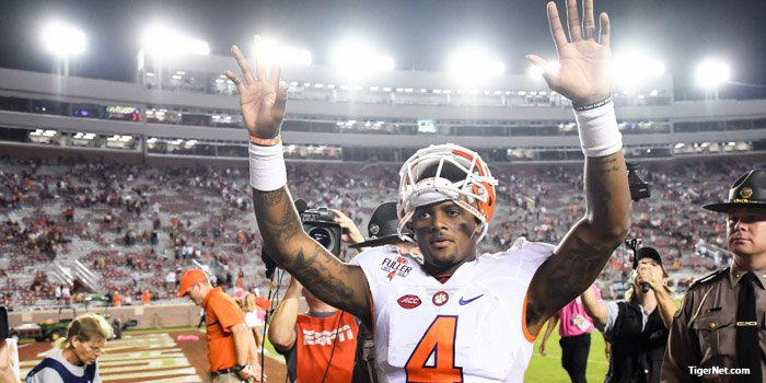 Watson celebrates as he leaves the field after the win over Florida St.