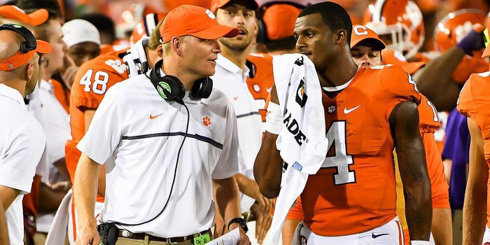 Watson and Brandon Streeter talk during the game at Tech last week