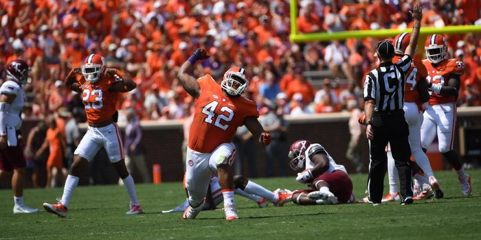 Christian Wilkins provided some of the cheers for Clemson fans Saturday