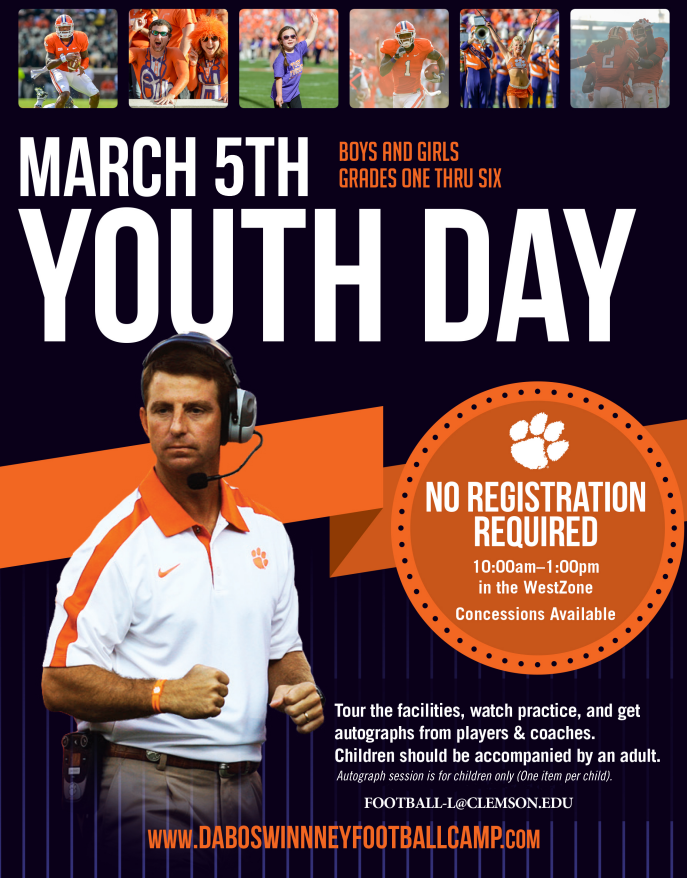 Clemson Football to host free youth day