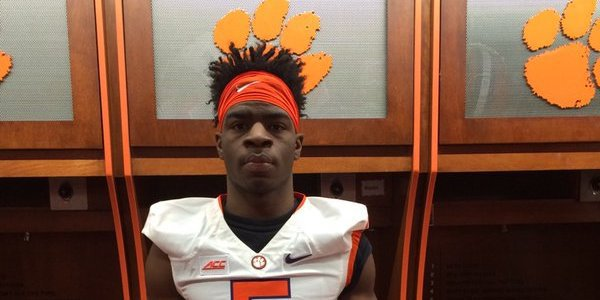 Bryant takes a pic in the Clemson locker room