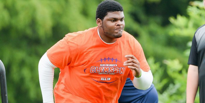Salyer works out at Swinney's high school camp in June