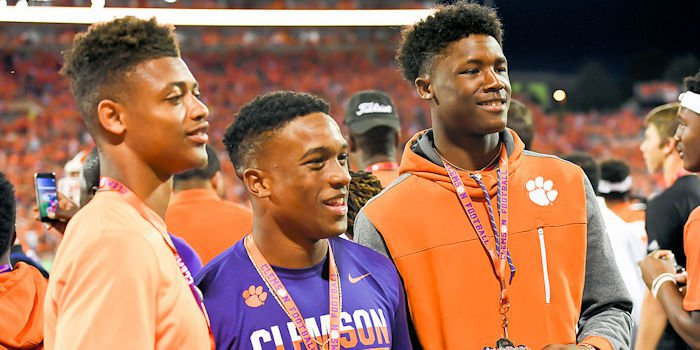 Tee Higgins (R) and Amari Rodgers (center) are headed to Clemson in 2017