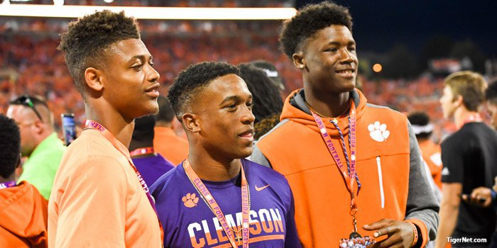 Rodgers (middle) will enroll in June, along with A.J. Terrell (left) and Tee Higgins (right)