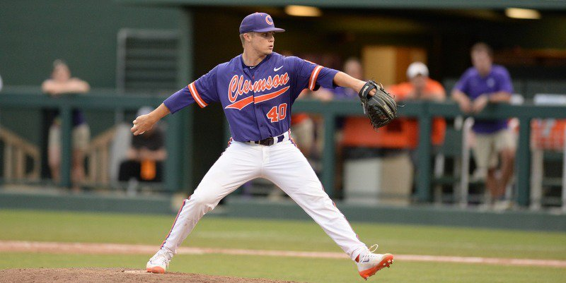 Griffith throws a pitch in the 7th inning Sunday (Photo by David Grooms)