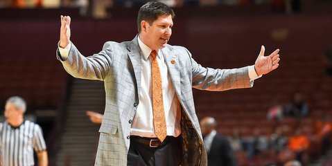 Clemson head coach Brad Brownell reacts to a call
