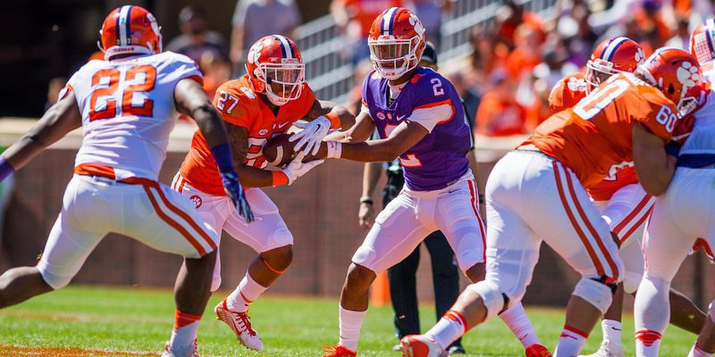 Kelly Bryant hands off to C.J. Fuller Saturday (Photo by David Grooms)