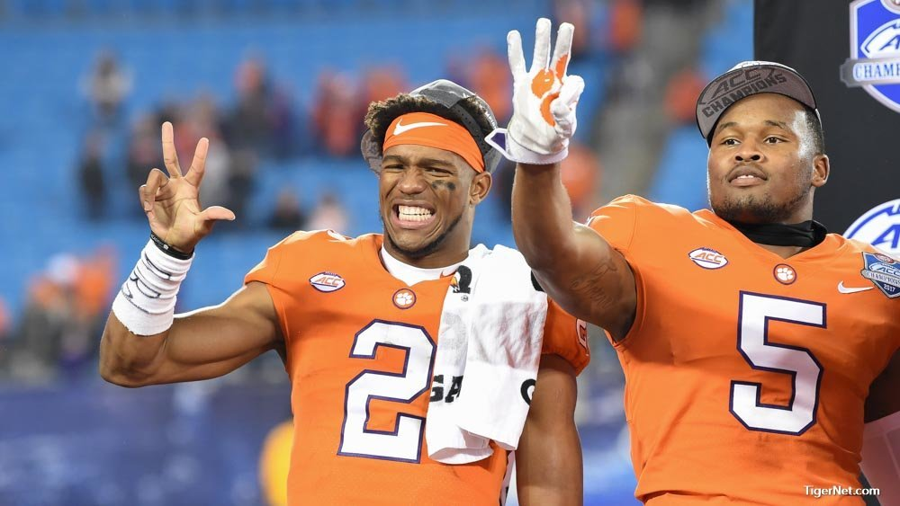 Kelly Bryant and Shaq Smith celebrate the ACC Championship