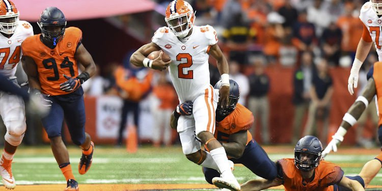Kelly Bryant looks for running room Friday (Photo by Rich Barnes, USAT)