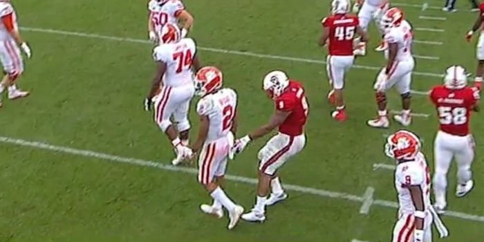Chubb sneaks in to take Bryant's towel (Photo credit to ESPN)