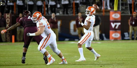 Kelly Bryant looks for a passing lane in the win over Virginia Tech last season