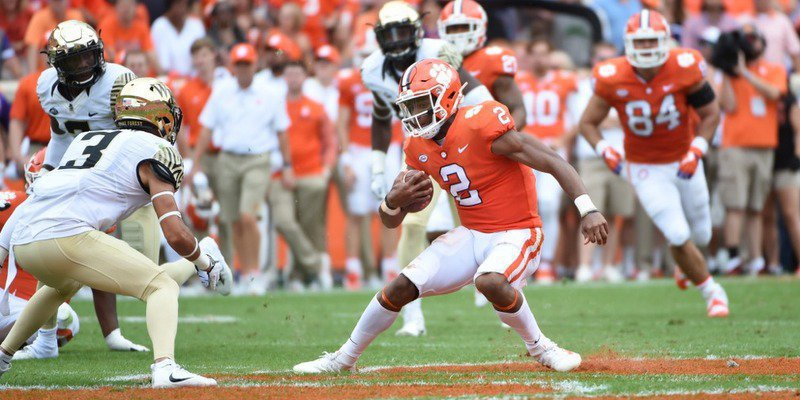 Kelly Bryant looks for yards against the Wake defense