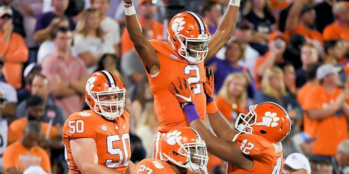 Kelly Bryant celebrates his first touchdown