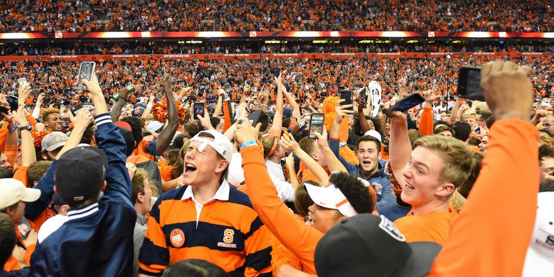 Syracuse fans celebrate their upset win over Clemson (Photo by Rich Barnes, USAT)