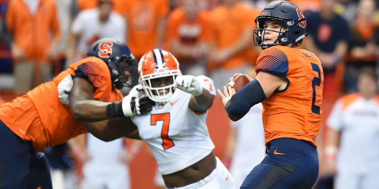 Syracuse QB Eric Dungey tallied over 350 yards of offense with three touchdowns in the 27-24 upset of No. 2 Clemson last season. (USA TODAY Sports-Rich Barnes)
