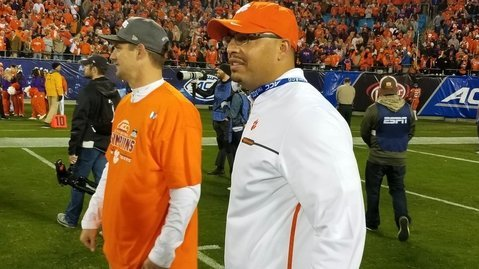 Scott (L) and Elliott are happy to be staying in Clemson