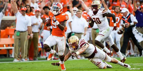 Freshman running back Travis Etienne is averaging over eight yards for every snap he's on the field.
