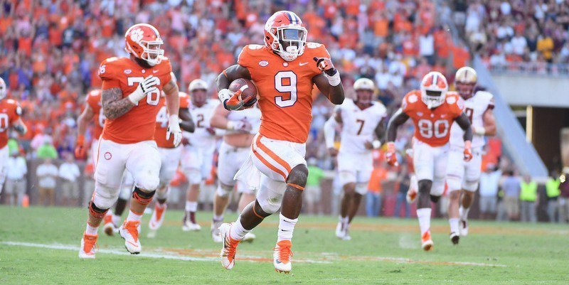 Travis Etienne had 139 all-purpose yards and two scores Saturday afternoon.