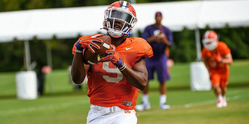 Etienne makes a catch in practice