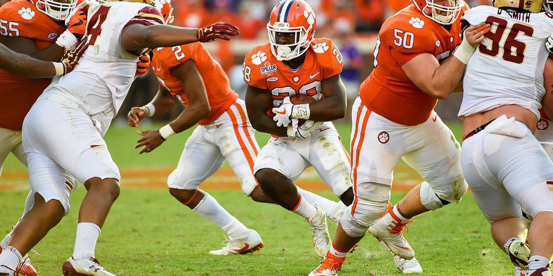 Tavien Feaster looks for yards against BC