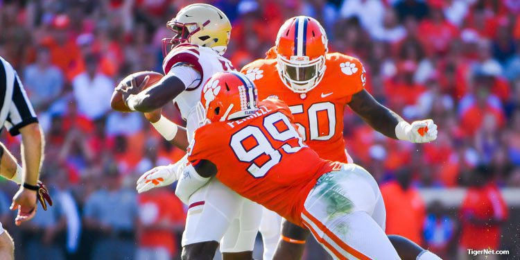 Clelin Ferrell goes after the quarterback early in the win over Boston College