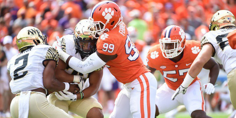 Clelin Ferrell makes the tackle in the first quarter against Wake