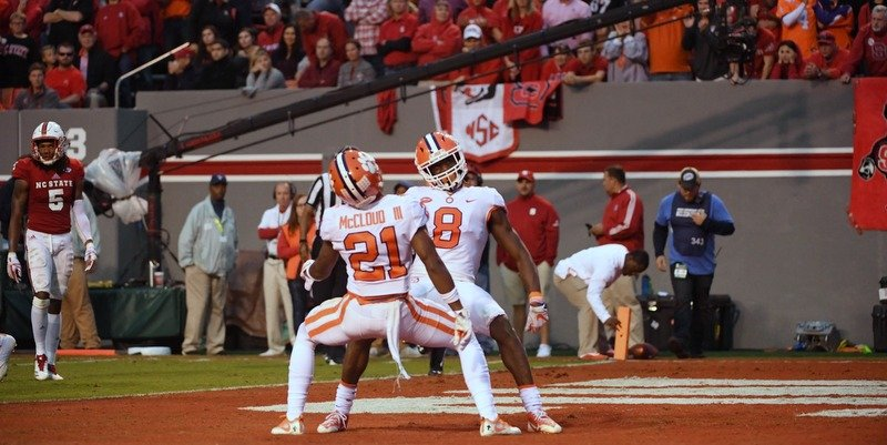 Deon Cain and Ray-Ray McCloud celebrate