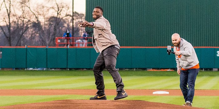 Lawson throws out the first pitch against South Carolina last week  (Photo by David Grooms)