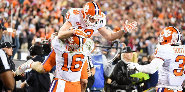 Renfrow celebrates his game-winning touchdown