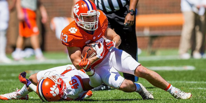 Renfrow makes a catch during the spring game