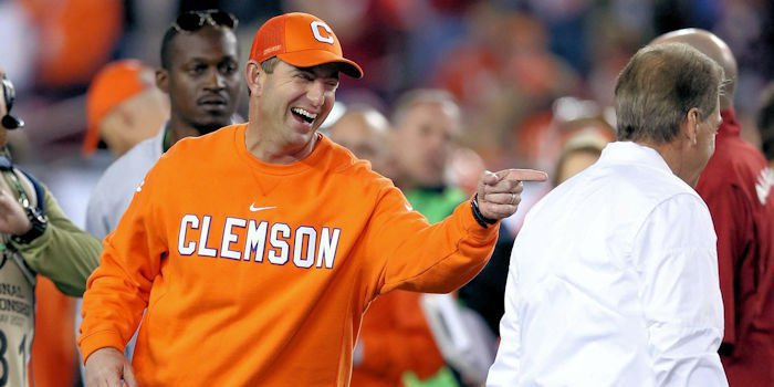 Dabo Swinney (L) and Nick Saban at the title game in January