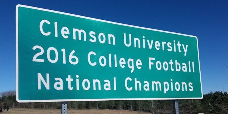 Photo of National Championship sign taken on Highway 76