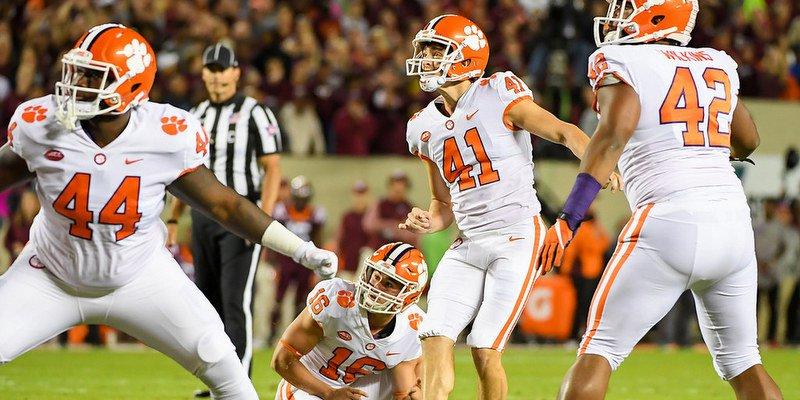 Alex Spence makes a field goal at Virginia Tech last season
