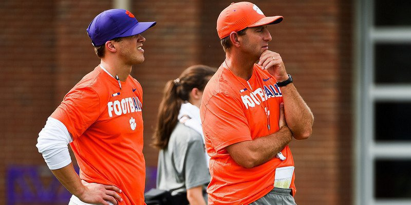 Swinney and Tyler Grisham at practice